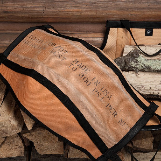 upcycled firewood carrier garden tote